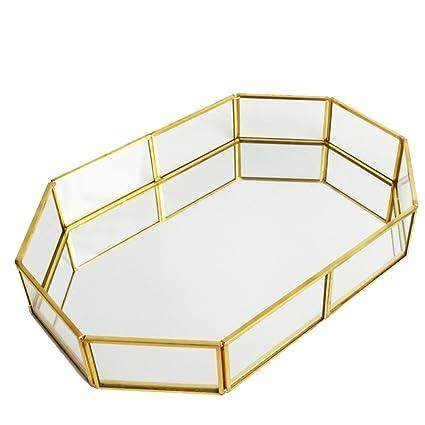QILICZ Bandeja de Espejo Decorativa con Bandeja de Espejo Bandeja de Cristal, Joyería/Organizador