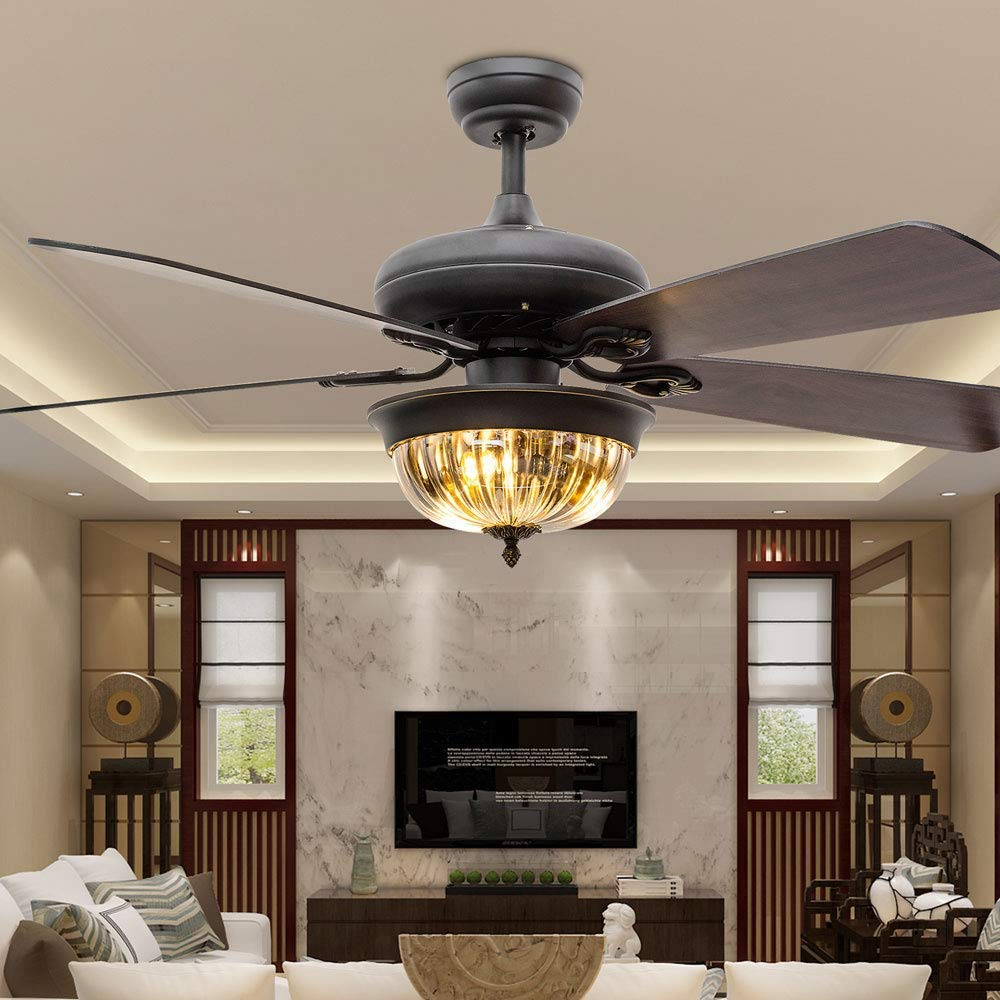 JSAUTO Modern 42 Inch Glass Ceiling Fan Lamp 3 Light bulbs Warm Light 5 Wood Reversible Blades with Remote Control for Living Room//Bedroom//Quiet//Decoration 42 inch, wooden