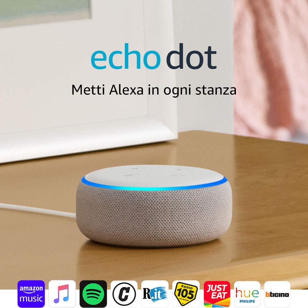 Acquistane 2 - Echo Dot (3ª generazione) - Altoparlante intelligente con integrazione Alexa - Tessuto grigio chiaro