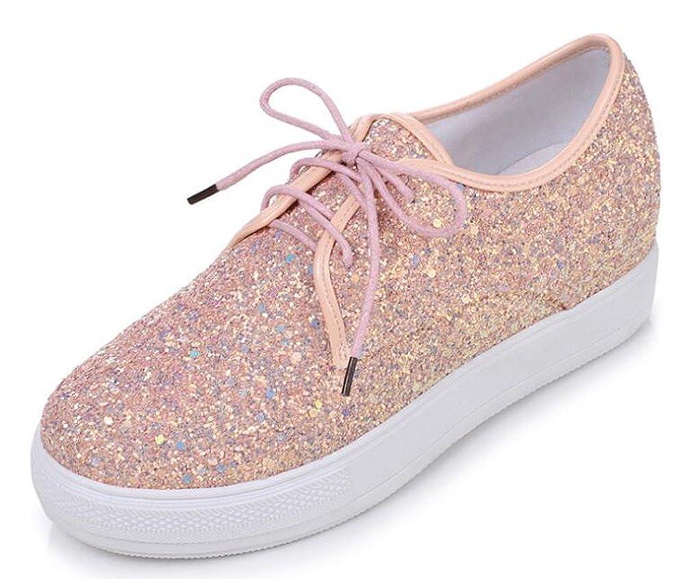 Easemax Damen Süß Pailetten Rund Up Zehe Lace Up Rund Dick Sohle Schnürhalbschuhe Sneakers Schuhe Pink 8021f4