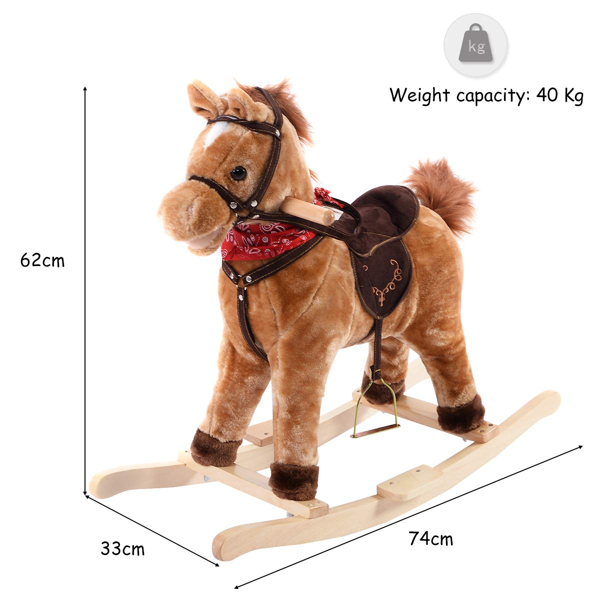 Costway Rocking Horse With Music Function Handle Grip Active Mouth