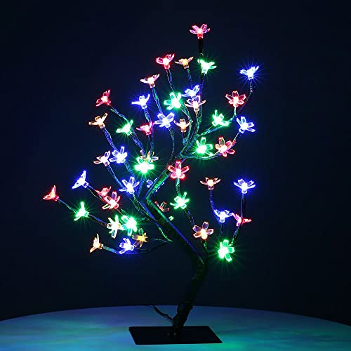 zanflare 045m1772inch 48leds cherry blossom desk top bonsai tree light black