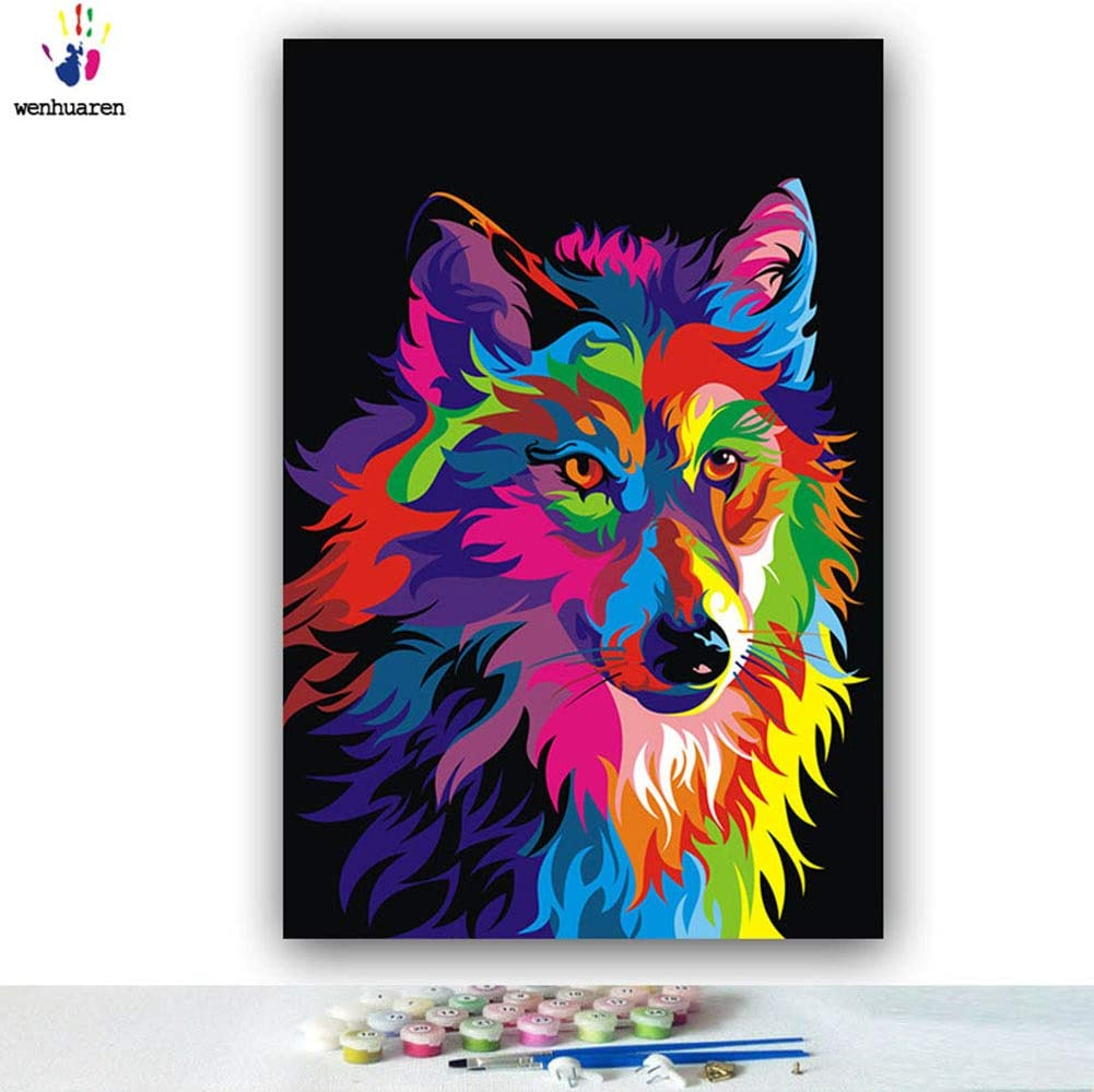 Elftoyer Paint by Numbers for Kids /& Adults /& Beginner Colorful Dog 16 x 20 inch DIY Canvas Painting Gift Kits for Home Decoration Without Framed