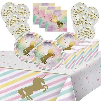 Unicornio Fiesta de Cumpleaños Caballo de Oro para 8 Niñas ...