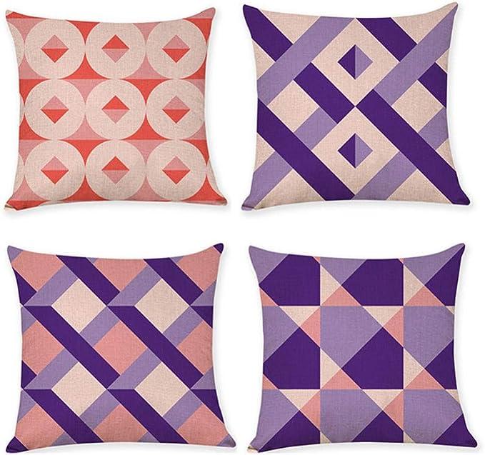 Imagen deWANGLUYAO Industria de la Funda de Almohada Funda de Almohada de algodón geométrica Abstracta Cuadrada, Funda de cojín para el hogar, 45 * 45 cm, 4 Paquetes@re