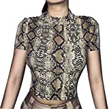 VANSOON Women Tunic Tops and Blouses Fashion O-Neck Short Sleeve Snake Striped Print Crop Top T-Shirt Sweatshirt