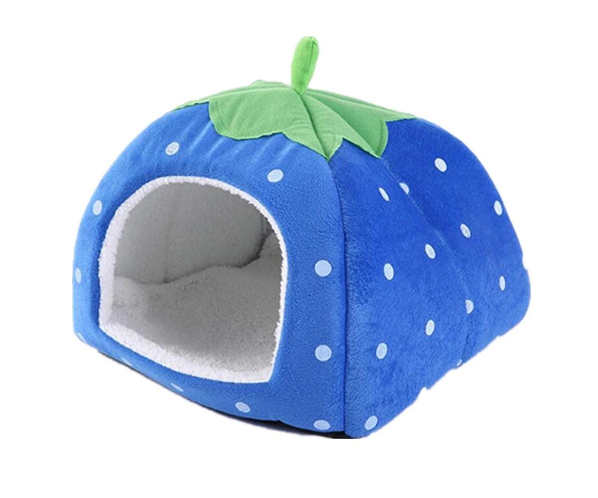 Gracefur Pet Cave Cute Strawberry Shape Dot Pet Nest Soft Removable Self Warming Pet Bed for Dogs & Cats Blue M