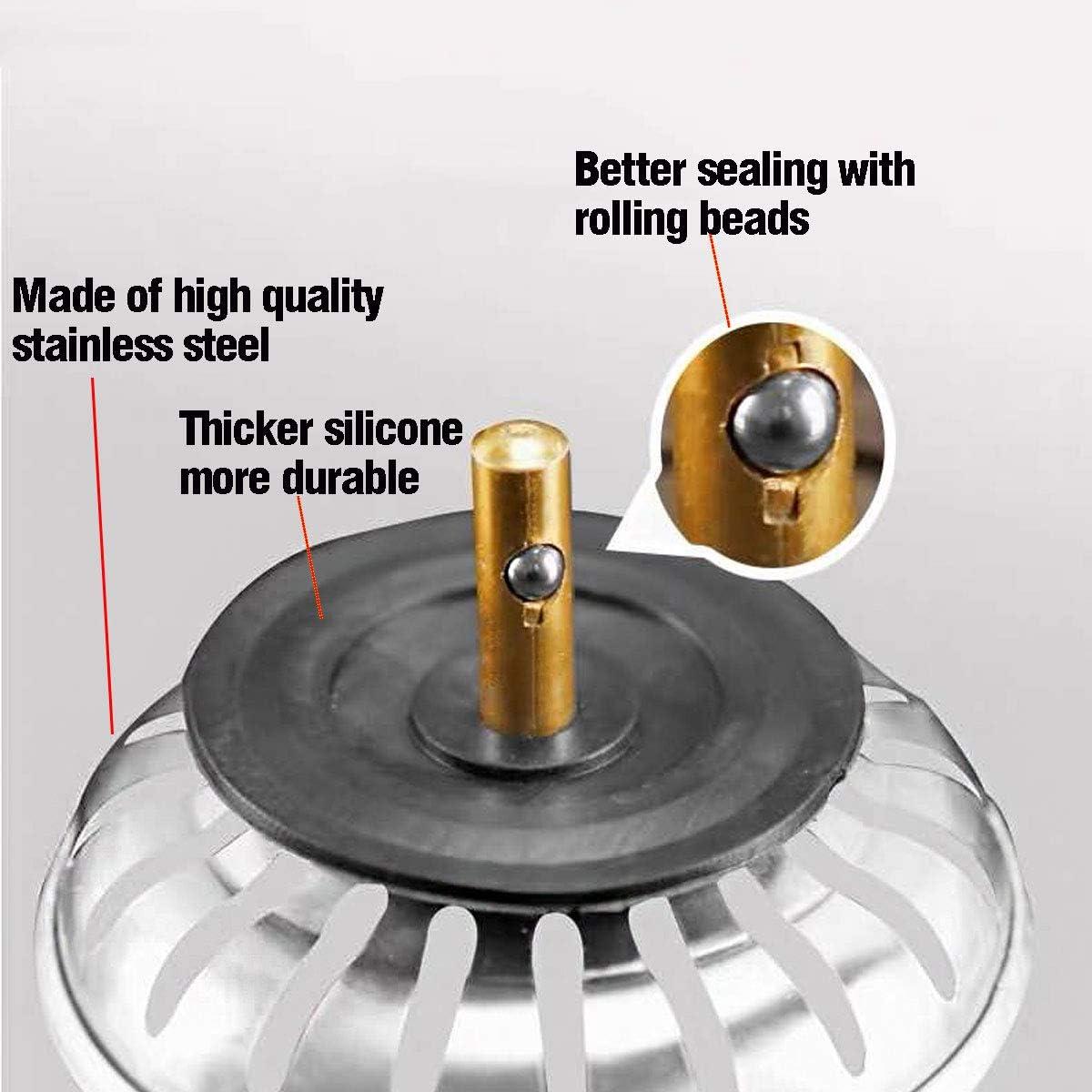 Kitchen Sink Plug for UK Sinks Stainless Steel Kitchen Sink Strainer Plug 304 Stainless Steel Rubber Seal Waterproof 78-84mm