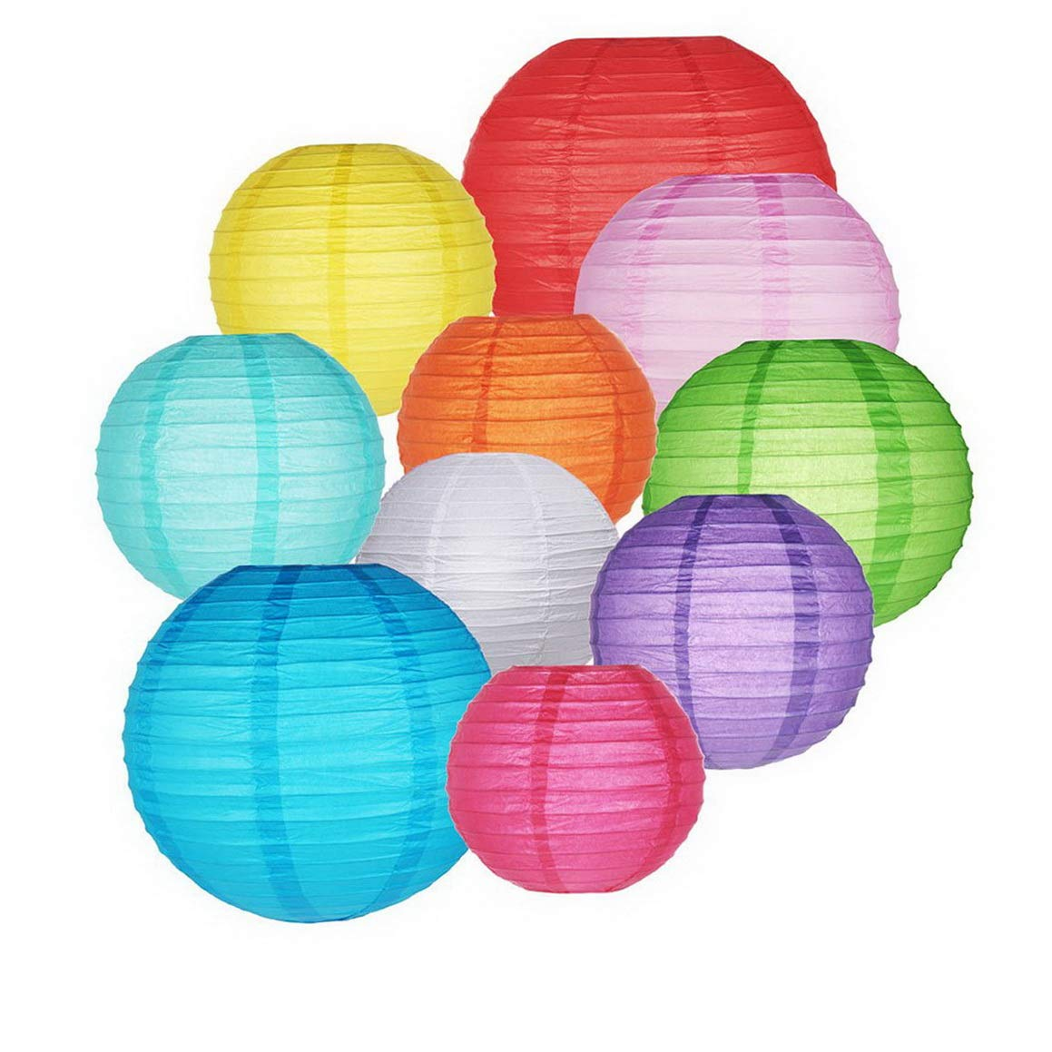Kaputar 10 Packs Paper Lanterns Colorful Chinese Round Lantern Hanging Decorations with Assorted Rainbow Colors and Sizes for Shower Ceiling Supplies | Model WDDNG -1452