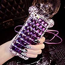 Three Cray Luxury Lovely Animal 3D Crafts Glitter Ears Case Cover With Diamond Design For iphone6/6s Case (iphone6/6s, Purple)