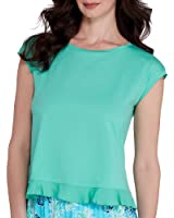 HUE Womens Modal Blend Flounce-Hem Sleep Tee