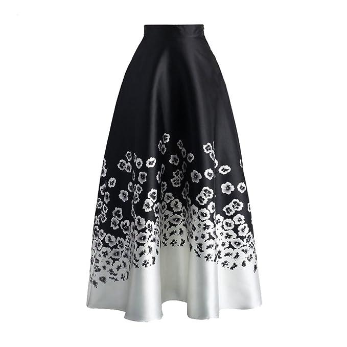 184db471c820 Kalin Women Monochrome Floral Print High Waist Wiggle Midi Maxi Skirt at  Amazon Women's Clothing store: