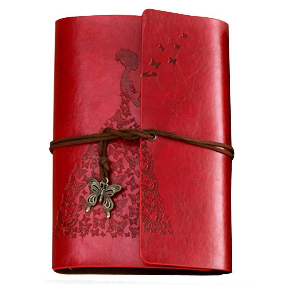 Leather Journal Refillable Notebook Premium Retro Spiral Notebook Classic Binder Vintage Embossed Travelers Journal for Art Sketch Travel Diary and Journal Records (Red)