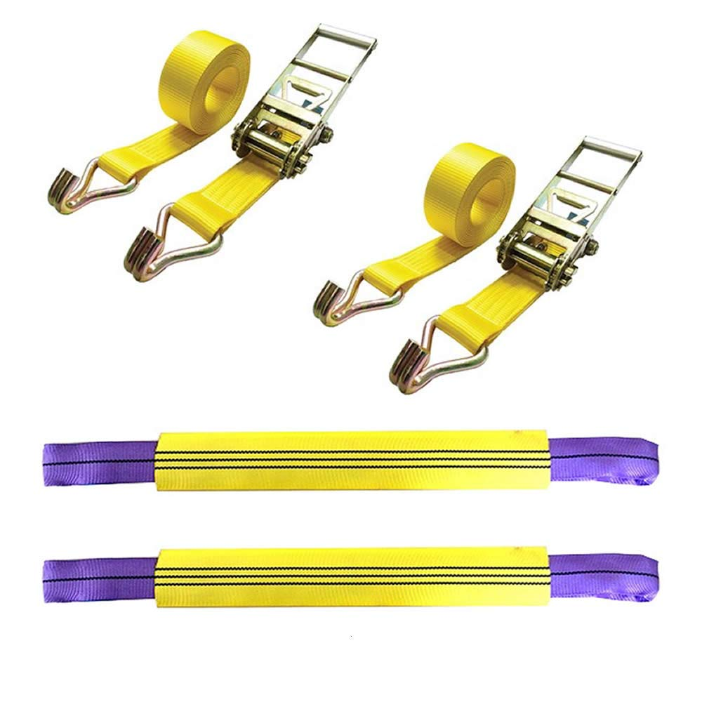 Noryb 2pc Vehicle Car 4x4 Recovery Ratchet Tie Down Set Link Strap Trailer Transporter
