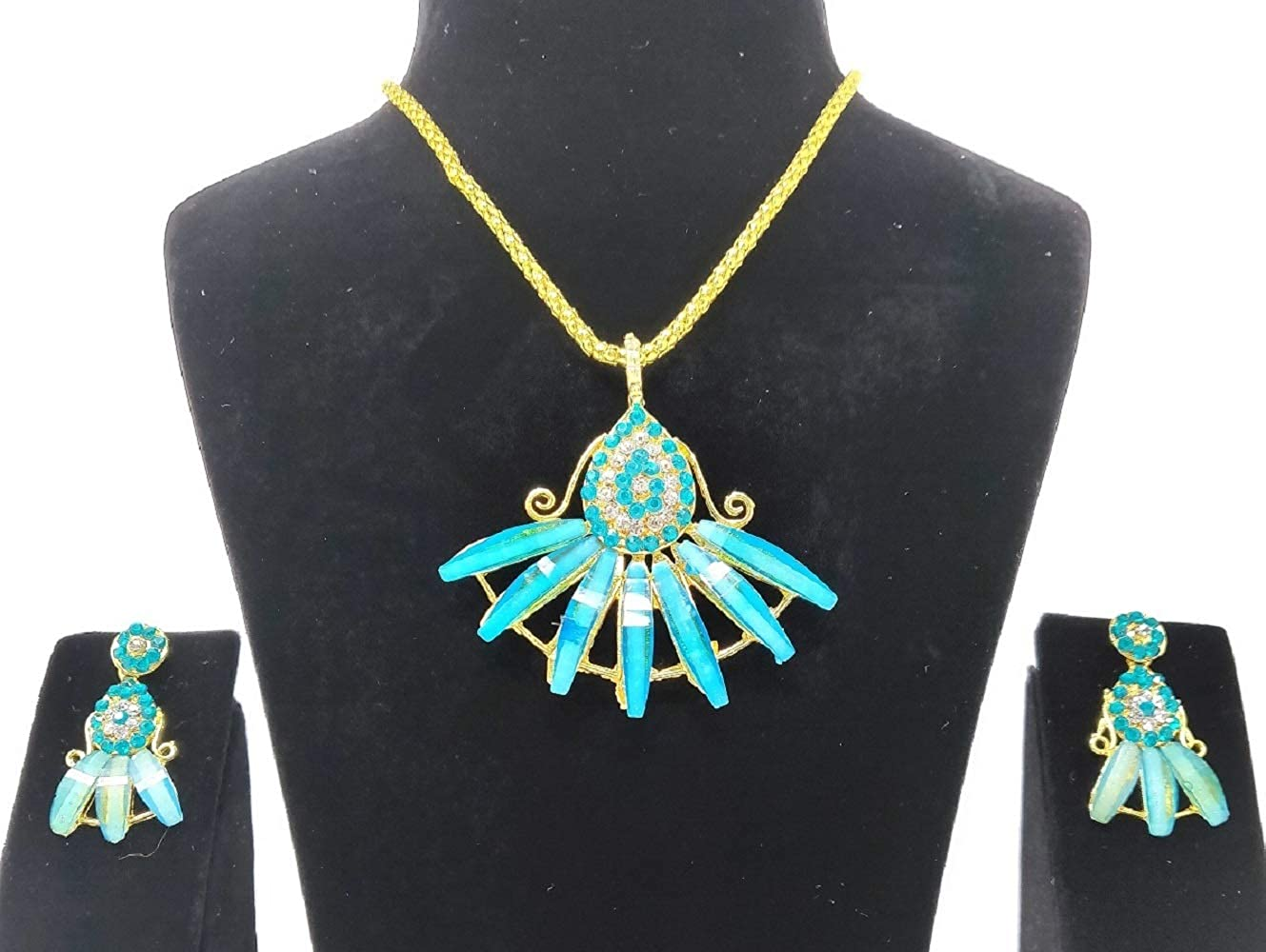 b19ad74ac510c7 Buy Swag Fashion s Stylish Fancy Party Wear Necklace Set with Earrings for  Girls and Women (Blue) Online at Low Prices in India