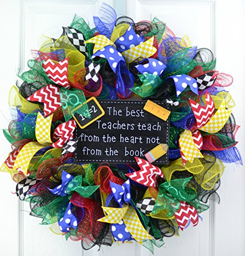 Teacher Classroom Birthday Party Multi Color Mesh Door Wreath; Primary Colors; Red Blue Yellow Green Black White