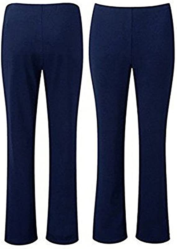 New Womens Plus Size Stretch Ribbed Trousers Ladies Bootcut Leg Pants 10-24
