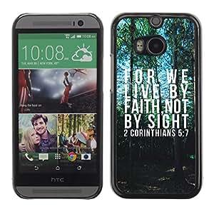 Cubierta de la caja de protección la piel dura para el HTC ONE M8 2014 - forest bible god faith psalm