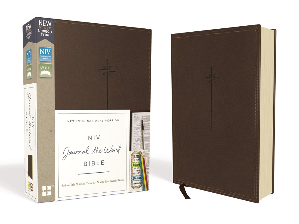 NIV, Journal the Word Bible, Leathersoft, Brown, Red Letter Edition, Comfort Print: Reflect, Take Notes, or Create Art Next to Your Favorite Verses by HarperCollins Christian Pub.