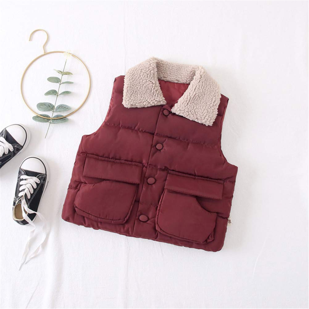 Kids Vest Fur Collar Girls Down Cotton Clothes Baby Boy Vest Kid Jacket Coat,Red,4Y by W