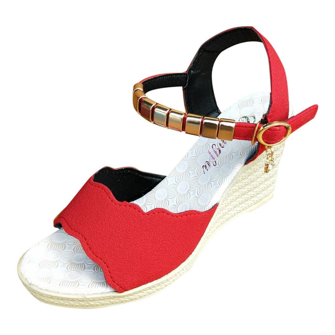 Tsmile Clearance Women Sandals Fish Mouth Rhinestone Platform Wedge High Heels Sandals Buckle Slope Sandals (Red, 7.5)