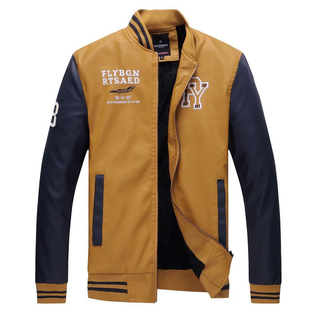 YKARITIANNA Men's Autumn Winter Fashion Casual Stand Collar Leather Coat 2019 Summer Yellow