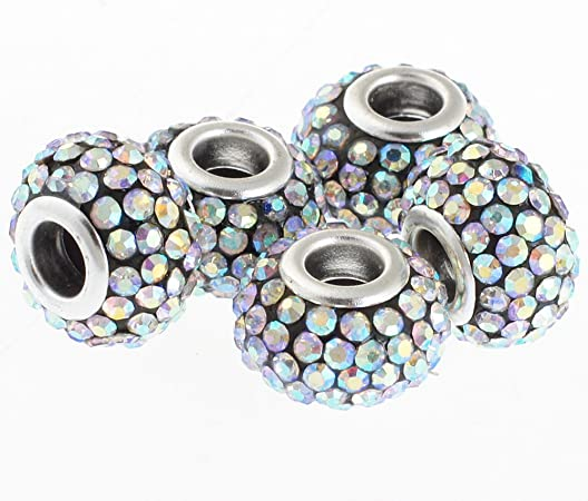 10pcs Murano Glass Charm Beads For Bracelets Black and Silver