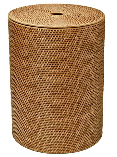 KOUBOO Round Rattan Hamper with Cotton Liner, Honey Brown