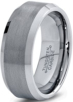 Tungsten Wedding Band Ring FREE Custom Laser Engraving 8mm for Men Women Silver Grey Beveled Edge Brushed Comfort Fit Lifetime Guarantee