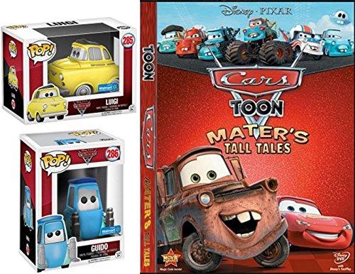 Battery Pack Dvd (Disney Cartoons Mater's Toon Tall Tales DVD & Cars 3 Pixar Luigi & Guido Exclusive Funko Pop! Animated Movie Car Figures Fun Pack)