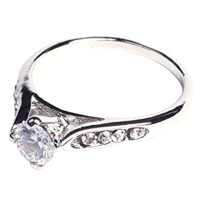 Buy SODIALR Sodialr Women Bridal Wedding Engagement Zircon Gem Delicate  Alloy Ring Silver Us Online at Low Prices in India  25f5b585f682