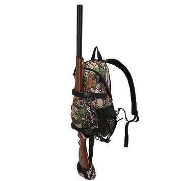 Tourbon Mochila de caza pequeña con soporte para rifles, color verde, color camuflaje, tamaño 24*14*42cm: Amazon.es: Deportes y aire libre