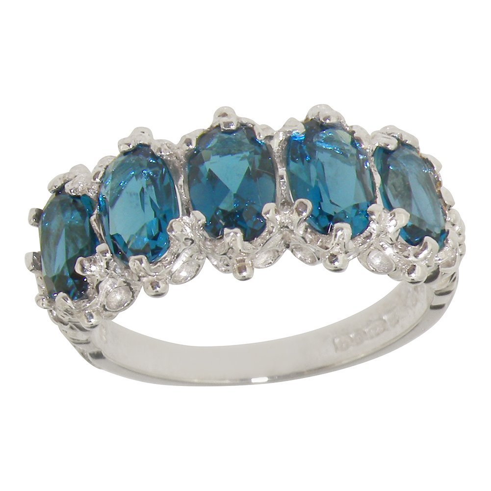 925 Sterling Silver Natural Blue Topaz Womens Eternity Ring - Sizes 4 to 12 Available