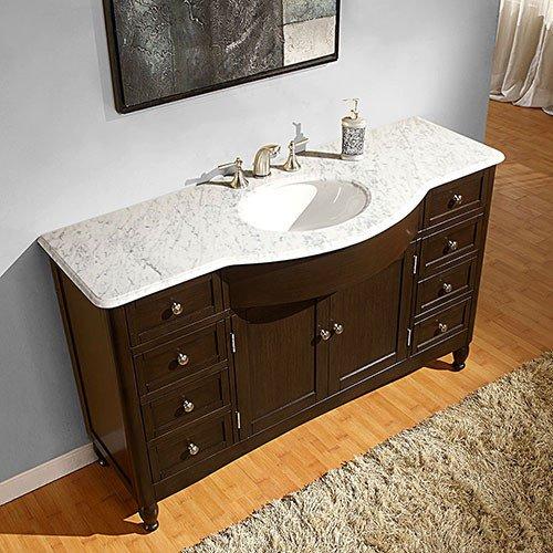 Silkroad Exclusive Bathroom Vanity HYP-0717-WM-UWC-58 Kelston 58''