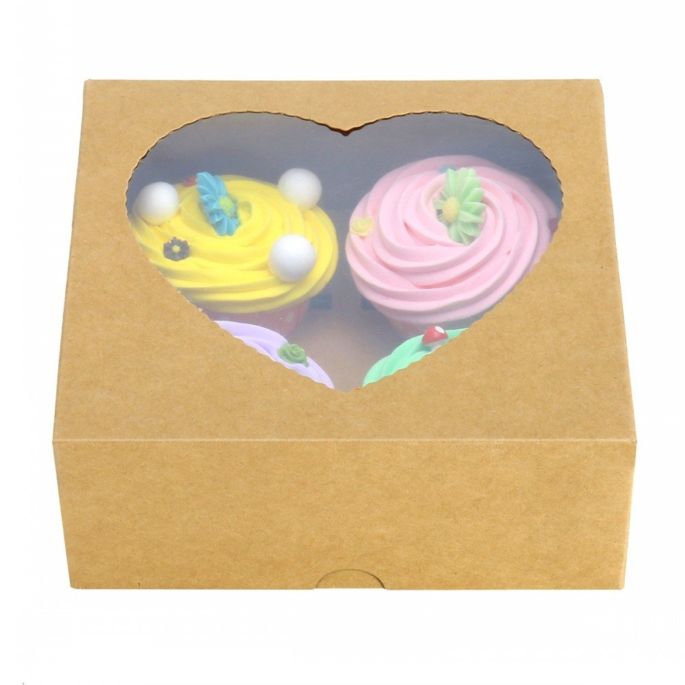 RomanticBaking Party Favor Bakery Heart-shaped 4 Cupcake Box With Window (50, Brown)