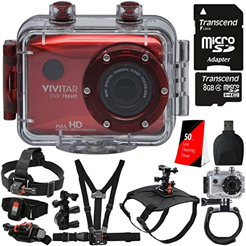 Vivitar DVR-783HD Red 5.1MP Action Camcorder 1.8'' Touch Screen + 16GB MicroSD Memory Card + Reader + Head Mount + Wrist Mount + Dog Back Mount + Head Mount + Chest Mount + Monopod + 3pc Cleaning Kit by Teds