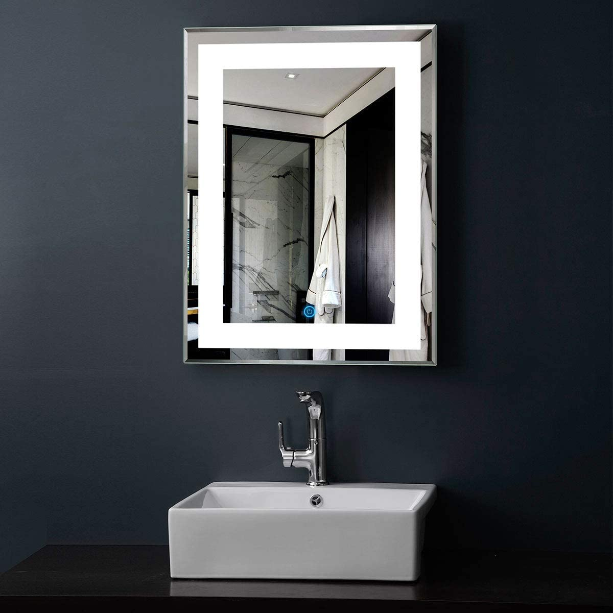 DP Home Vertical LED Bathroom Silvered Mirror with Touch Button 24 Inch x 32 Inch E-CK168