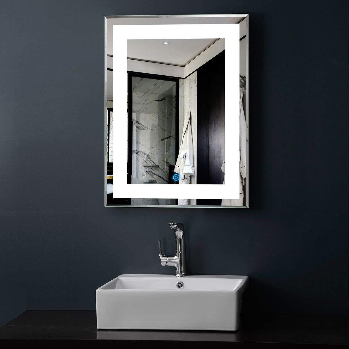 2432 in DP Home greenical LED Bathroom Silvered Mirror with Touch Button 24 Inch x 32 Inch (E-CK168)