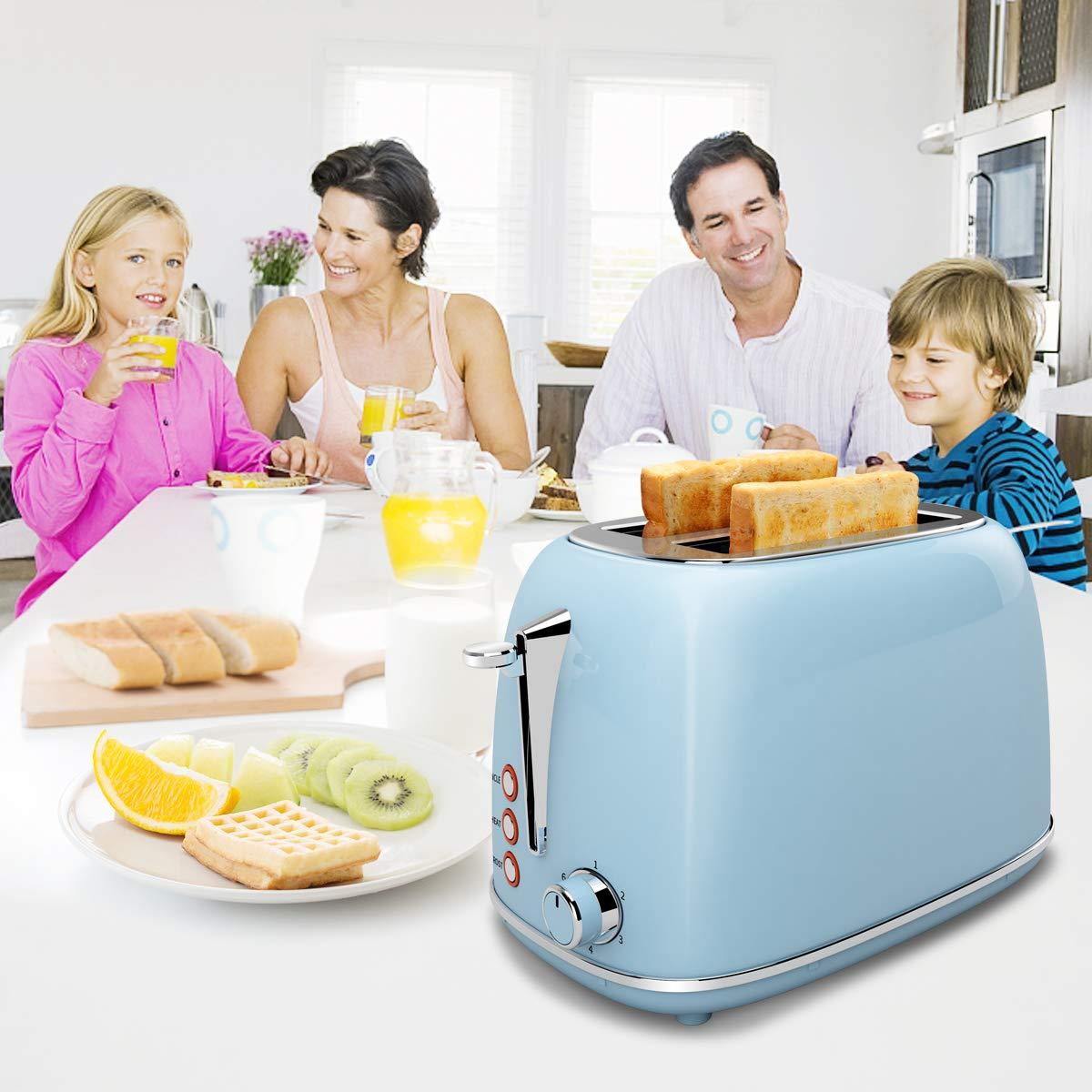 Toaster Edelstahl 2 Scheiben, morpilot Toaster mit Abnehmbarem Brötchenaufsatz und Herausnehmbarer Krümelschublade, 6 Bräunungsstufen|Auftaufunktion|Aufwärmfunktion, 815W, Blau