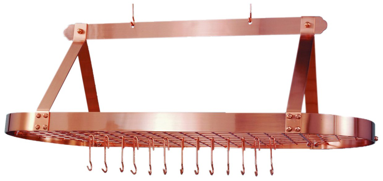 Old Dutch Oval Hanging Pot Rack with Grid & 24 Hooks, Satin Copper, 48 x 19 x 15.5