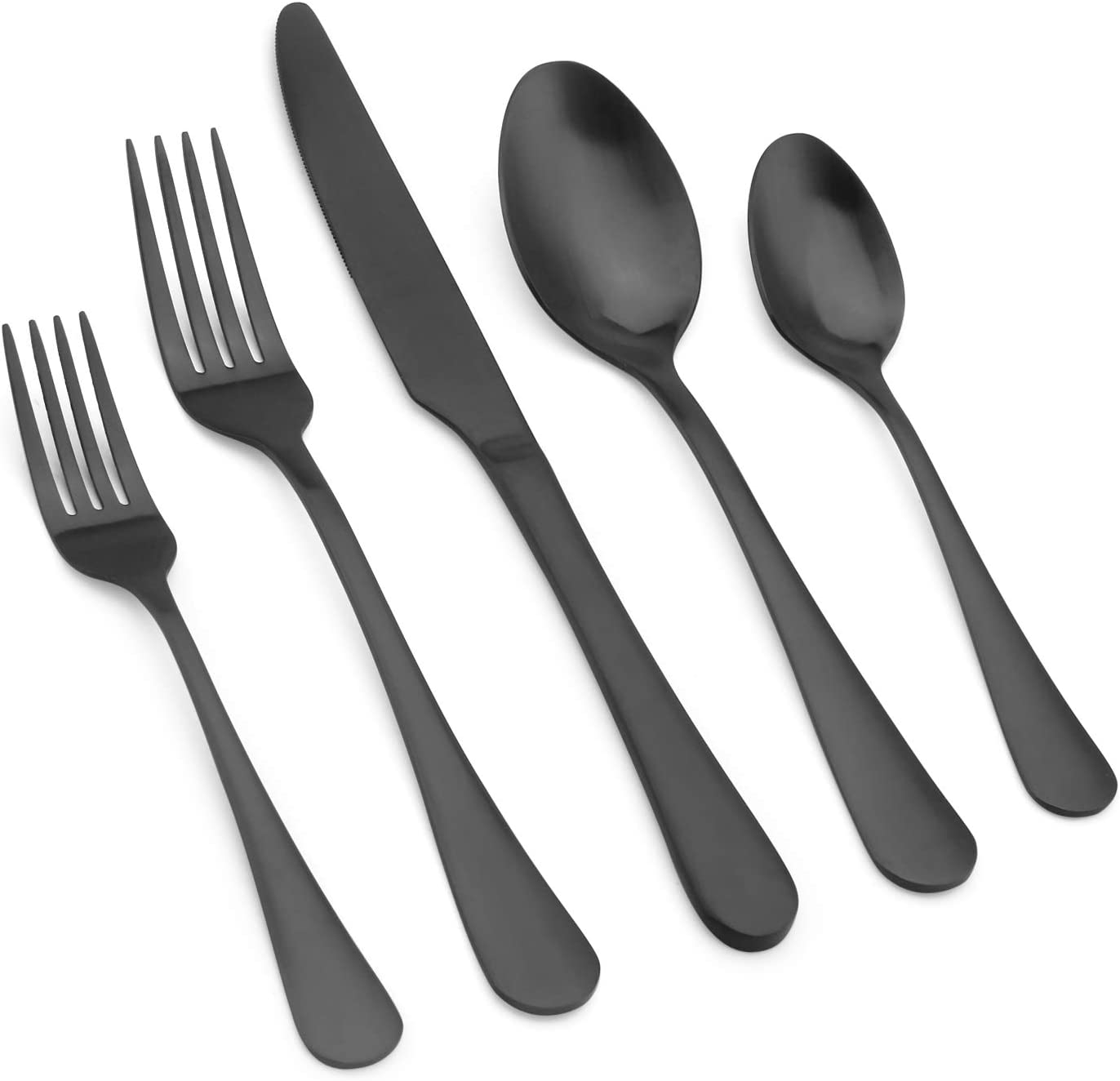 Vanys Matte Black Silverware Set, 20-Piece Stainless Steel kitchen Utensil Flatware Set Service for 4, Satin Finish Cutlery Set for Home Restaurant Wedding Party, Dishwasher Safe
