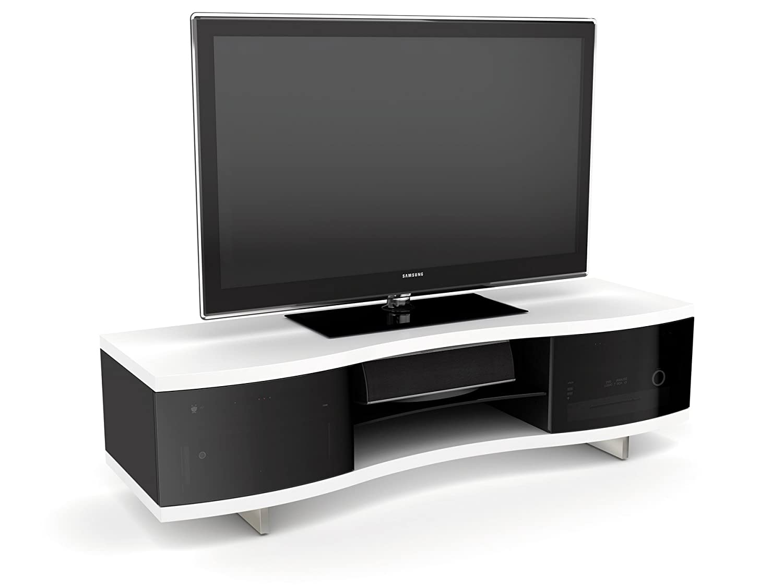 Amazon.com: BDI Ola 8137 Triple Wide Curved Entertainment Cabinet, Satin  White: Home U0026 Kitchen