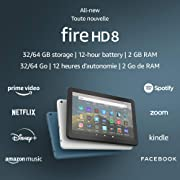 """All-new Fire HD 8 tablet, 8"""" HD display, 32 GB, designed for portable entertainment, Black $84.99"""