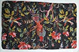 Handmade Kantha Quilt - Birds and Botanicals, Black
