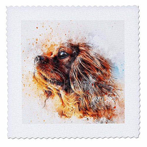 3dRose Sven Herkenrath Animal - Dog Watercolor Portrait - 18x18 inch quilt square (qs_280298_7) by 3dRose