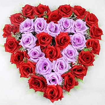 Da Wa Fleurs Artificielles Rose Faux Fleurs En Forme De Cœur