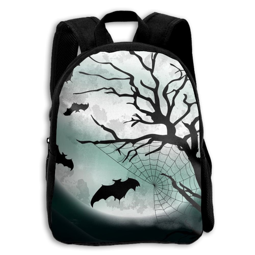 Kids School Bag Double Shoulder Print Backpacks Night Bats Moon Travel Gear Daypack Gift by LAUR