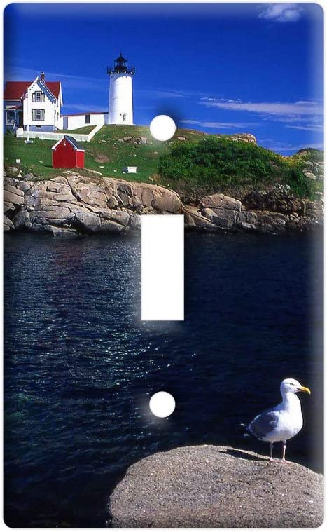 Graphics And More Maine Lighthouse Nubble Light With Seagull Plastic Wall Decor Toggle Light Switch Plate Cover