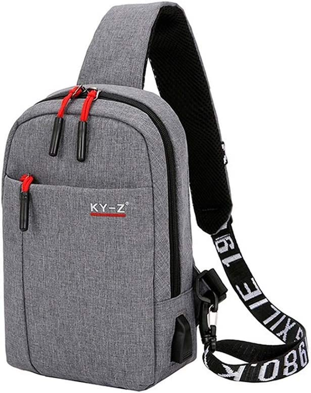 LCHAO Travel Backpack Mens Chest Pack Casual Shoulder Bag Messenger Bag Multi-Purpose Outdoor Backpack Chest Color : Gray, Size : M