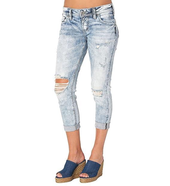 6583775f Silver Jeans Women's Sam Boyfriend-Fit Mid-Rise Capri, Indigo, 31 ...